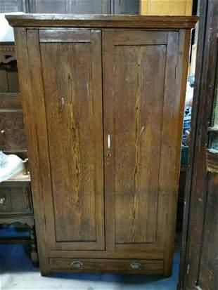 19th C. scumbled pine cupboard.