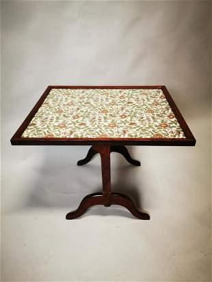 Edwardian mahogany flip top wine table.