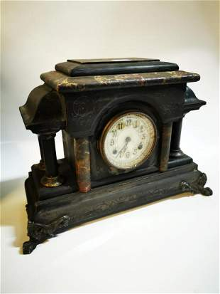 Late 19th C. wooden mantle clock