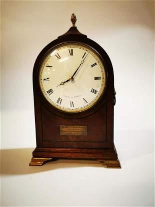 Edwardian inlaid mahogany mantle clock