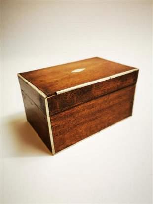 19th C. mahogany tea caddy.