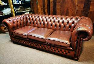 Three seater leather Chesterfield sofa