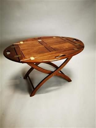 Walnut butler's tray coffee table.