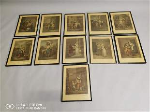 Set of eleven Cries of London framed prints