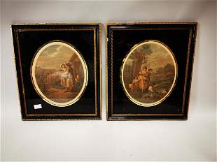 Pair of 19th C. coloured engraving.