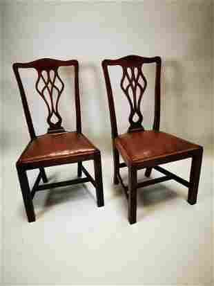 Pair of Edwardian mahogany side chairs.