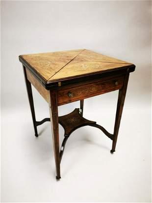 Edwardian rosewood inlaid card table.