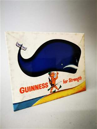Guinness celluloid advertising showcard.