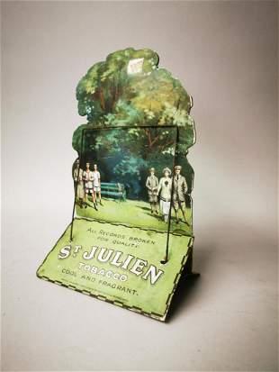 St Julien Tobacco cardboard advertising sign.
