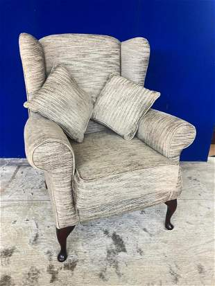 Fine wing back upholstered armchair, complete with two