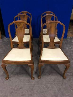 Set of six Queen Anne style walnut and simulated walnut