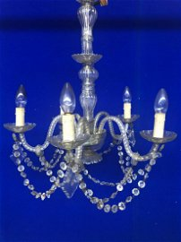 Cut glass 5 branch chandelier with matching wall