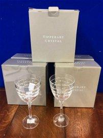Unused set of 10 Tipperary crystal claret glasses.