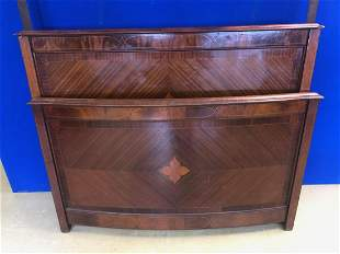 Edwardian inlaid mahogany double bed, the front bow