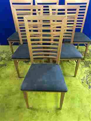 Set of 6 maple tall back dining chairs W 50 H 105 D 50