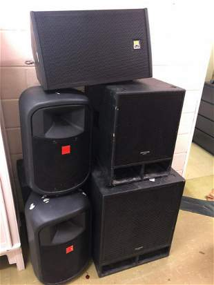 Five items of audio equipment, speakers and base bin.