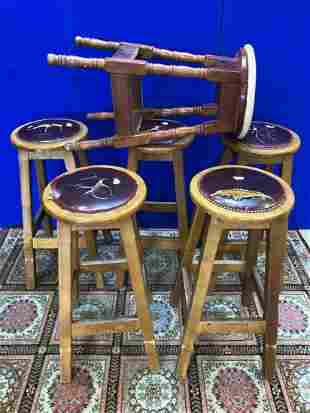 Set of 5 traditional bar stools and 1 other W 42 H 85