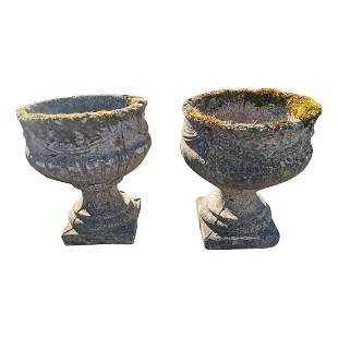 Pair of early 20th C. composition urns.