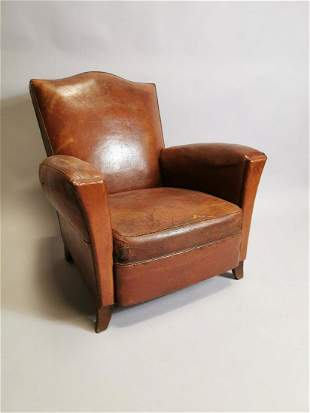 1940's leather upholstered club chair.