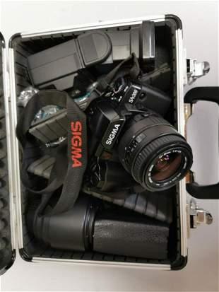 Vintage camera in case