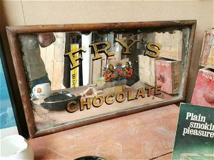 Early 20th C. Fry's Chocolate advertising mirror.