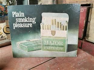 Major Cigarettes cardboard advertising showcard.