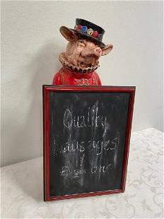 Model of a Pig dressed as a Beefeater with Bar menu