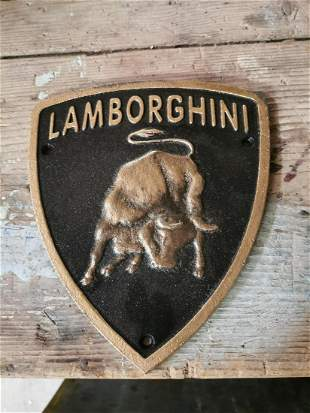 Lamborghini cast iron advertising sign.