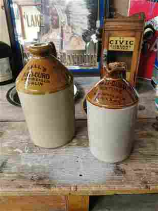 Two early 20th C. stoneware flagons.
