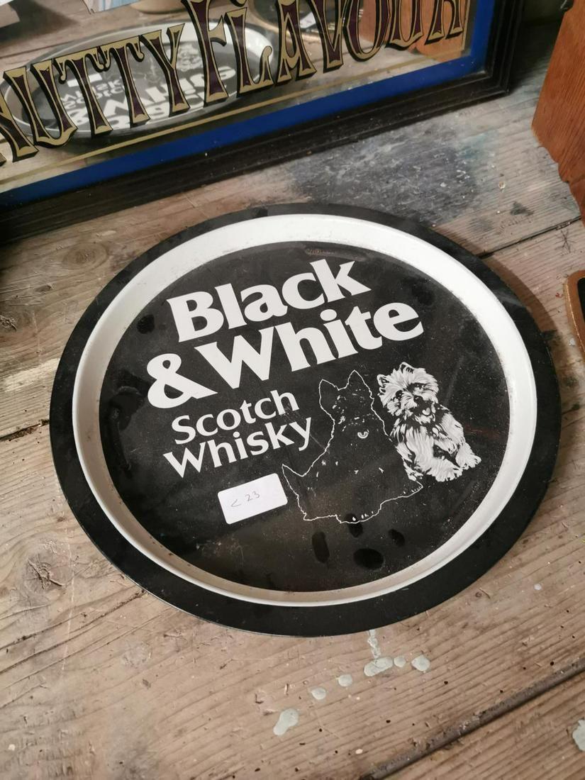 Black & White scotch whiskey advertising tray.