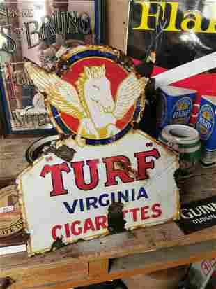 Turf Virginia Cigarettes advertising sign.