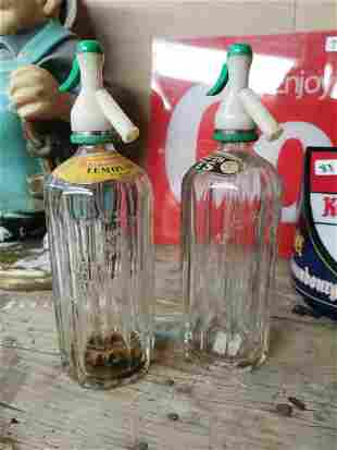 Two Thwaites Mineral Water soda syphons.