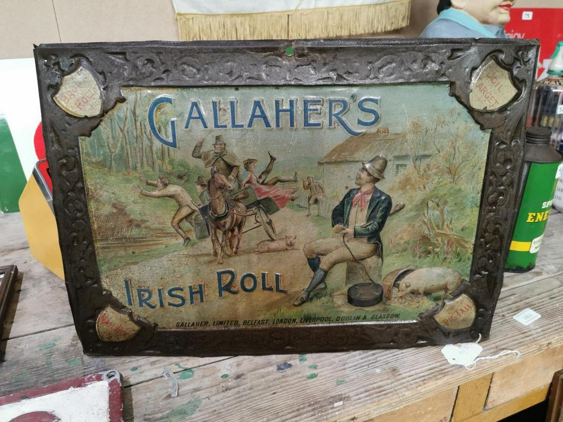 Gallaher's Irish Roll tobacco advertising sign.