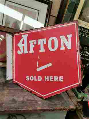 Afton Sold Here tobacco advertising sign.