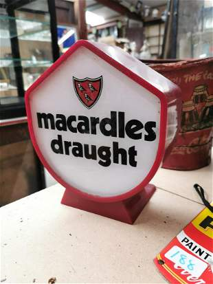 Macardles Draught light up advertising sign.