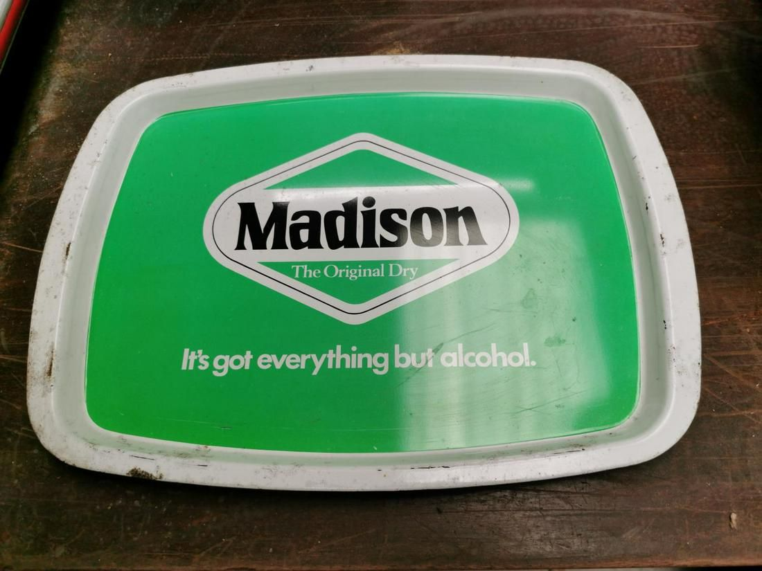 Madison advertising drinks tray.