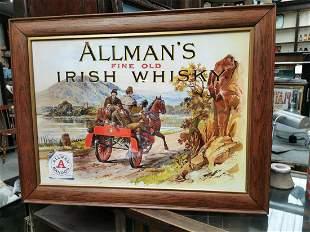 Allman's Fine Old Irish Whiskey advertising print.