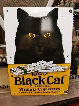Black Cat Virginia Cigarettes advertising sign.