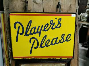 Players Please hanging advertising sign.