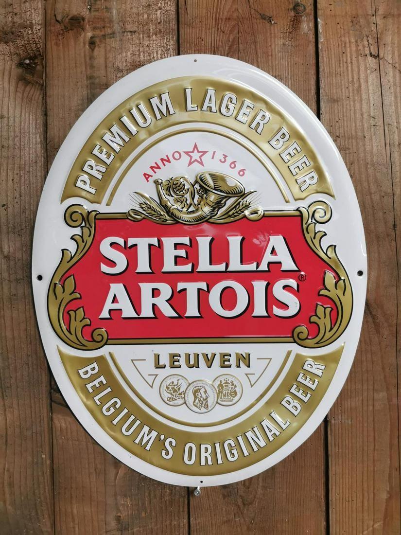 Stella Artois advertising sign.
