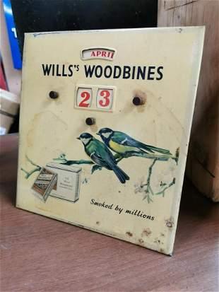 Will's Woodbine advertising calendar.