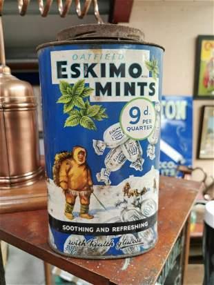 Eskimo Mints advertising sweet tin.