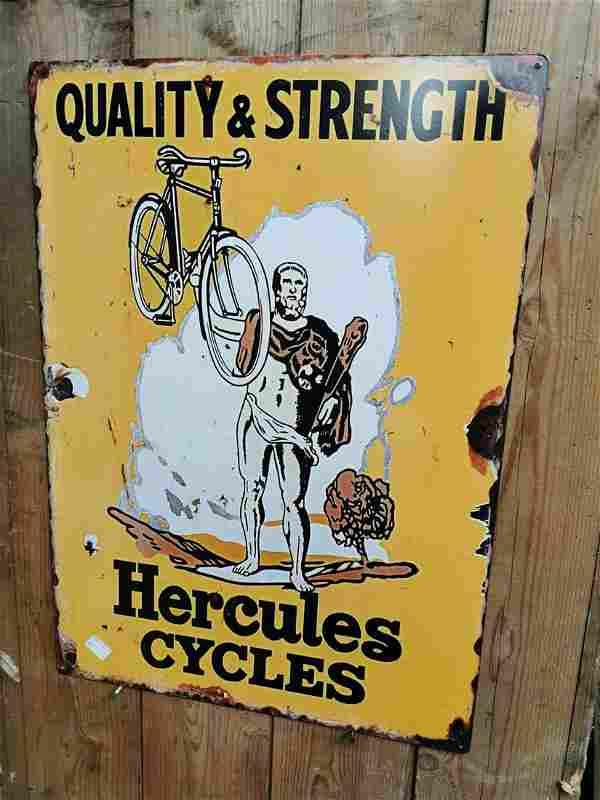 Hercules Cycles advertising sign.