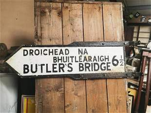 Butlers Bridge double sided road sign.