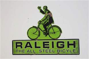 Raleigh Bicycle tin advertising sign.