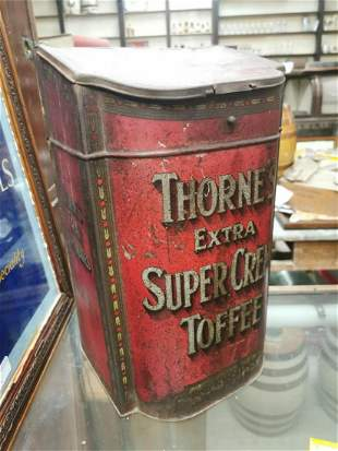 Thorne's Toffee advertising sweet tin.