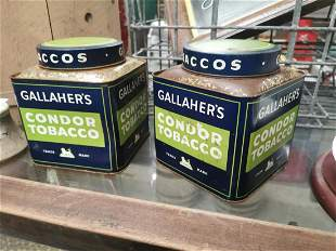 Pair of Gallaher's tobacco advertising tins.