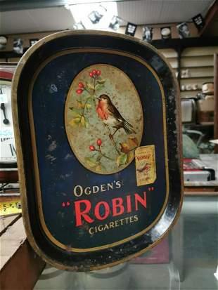 Ogden's Robin cigarettes advertising tray.