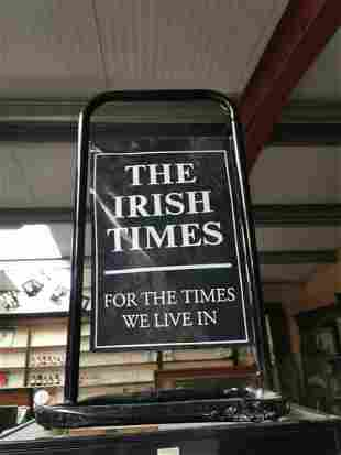 The Irish Times double sided shop sign.