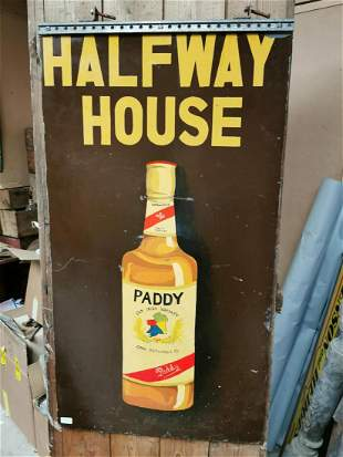 Paddy Old Irish Whiskey wooden advertising sign.